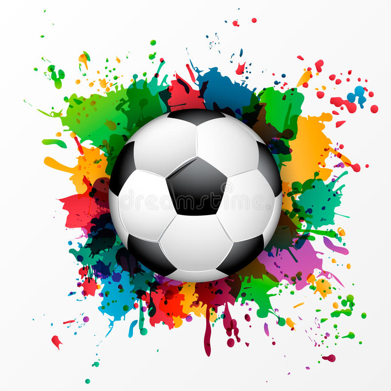 Pallone da calcio con la pittura di spruzzo variopinta illustrazione vettoriale