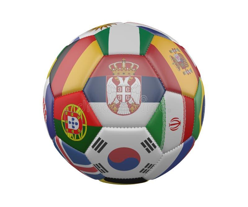 Pallone da calcio con le bandiere isolate su fondo bianco, Serbia nel centro, rappresentazione 3d illustrazione di stock