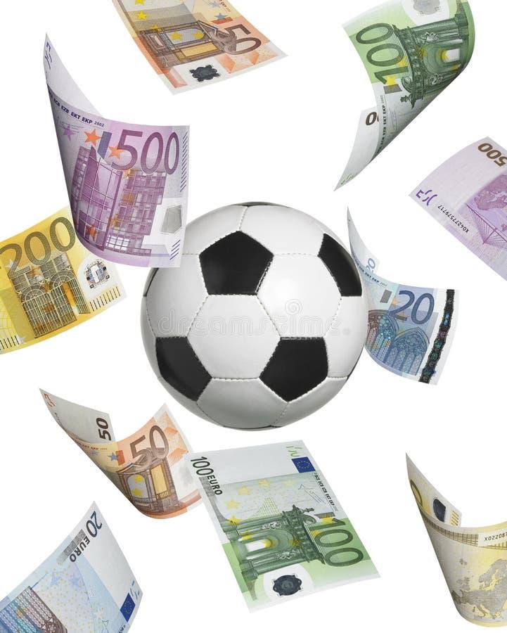 Pallone da calcio con le euro banconote isolate su bianco immagine stock libera da diritti