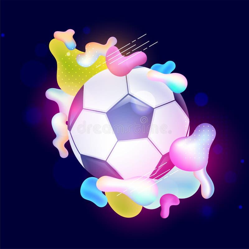 Pallone da calcio decorato con arte fluida brillante su fondo blu illustrazione di stock