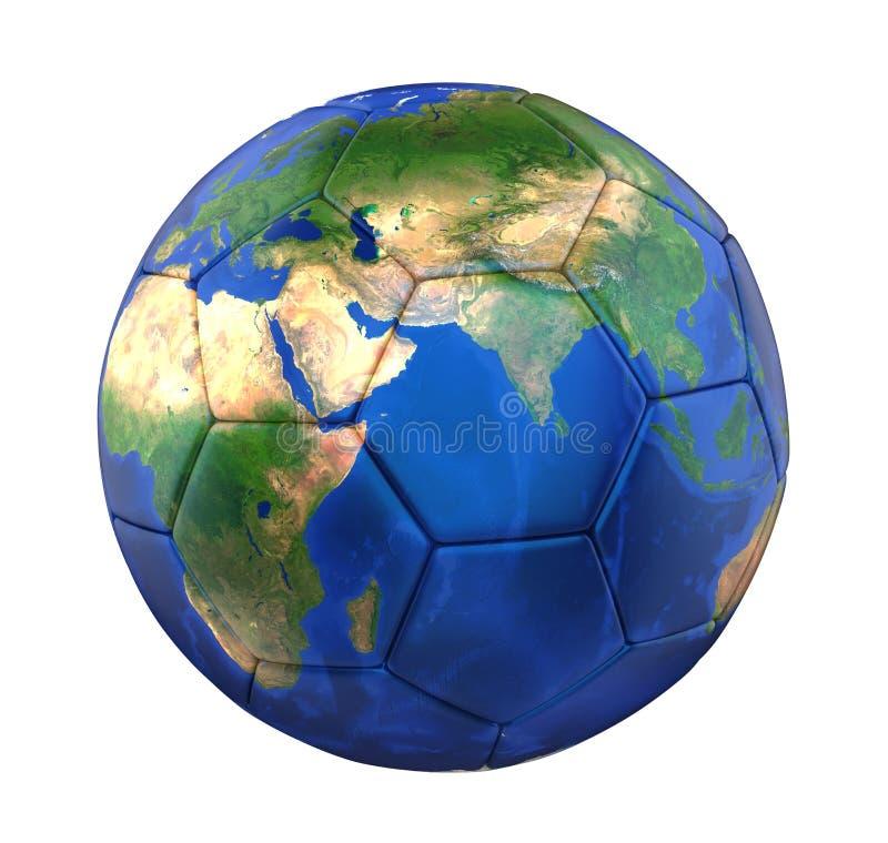 Pallone da calcio della terra isolato illustrazione di stock