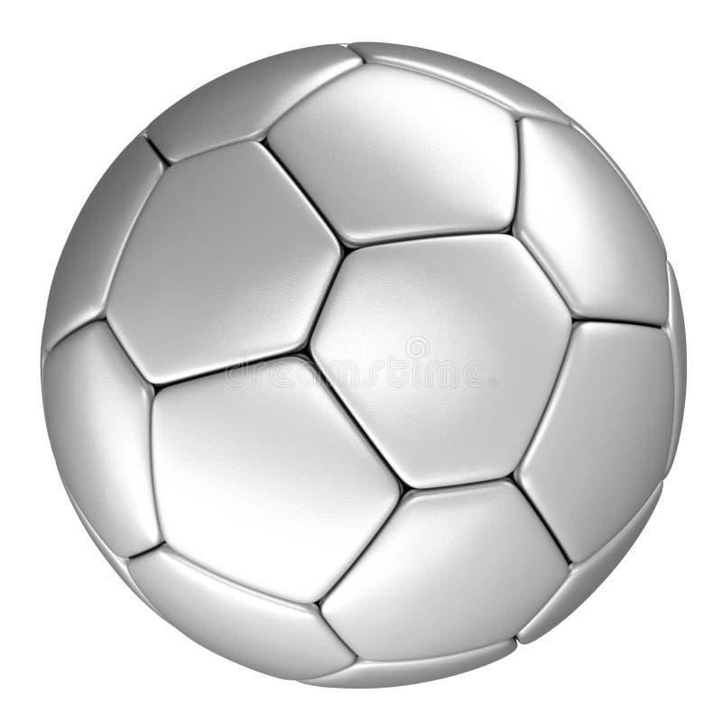 Pallone da calcio di argento, isolato su fondo bianco royalty illustrazione gratis