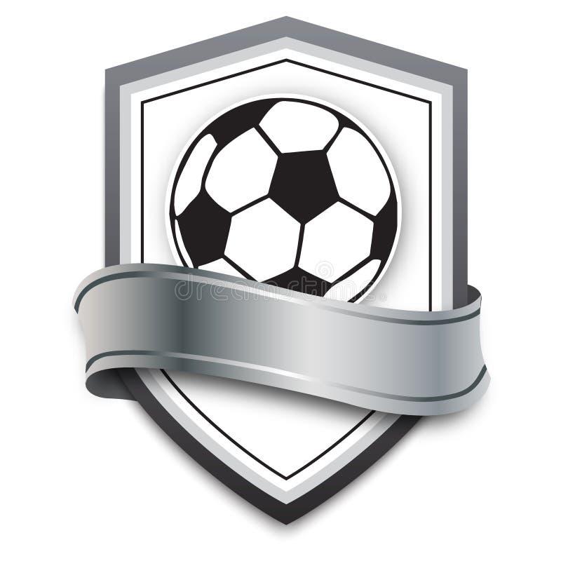 Pallone da calcio di vettore sui precedenti d'argento emblema di calcio per i giochi di calcio online, insegne, manifesto illustrazione vettoriale