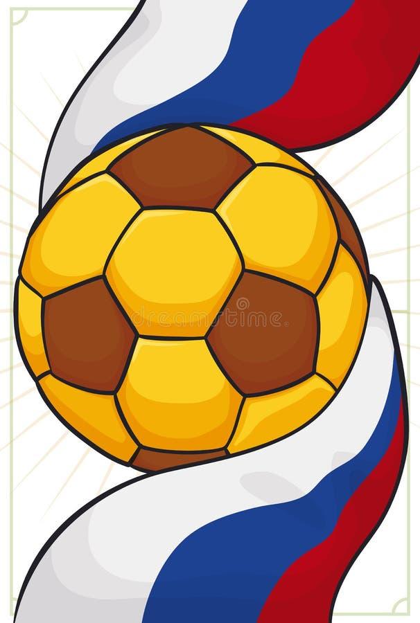Pallone da calcio dorato avvolto con la bandiera russa per l'evento di calcio, illustrazione di vettore illustrazione vettoriale