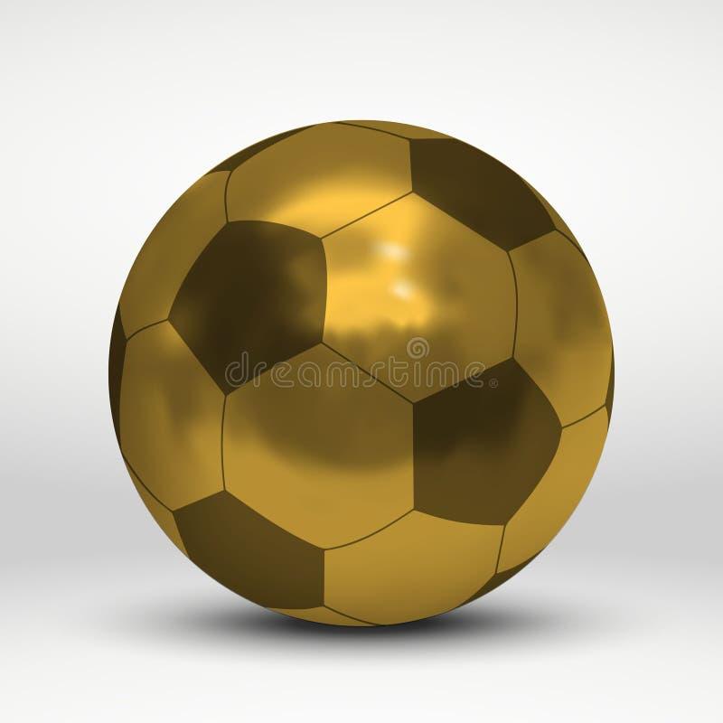 pallone da calcio dorato sopra fondo bianco illustrazione di stock