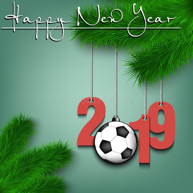 Pallone da calcio e 2019 su un ramo dell'albero di Natale royalty illustrazione gratis