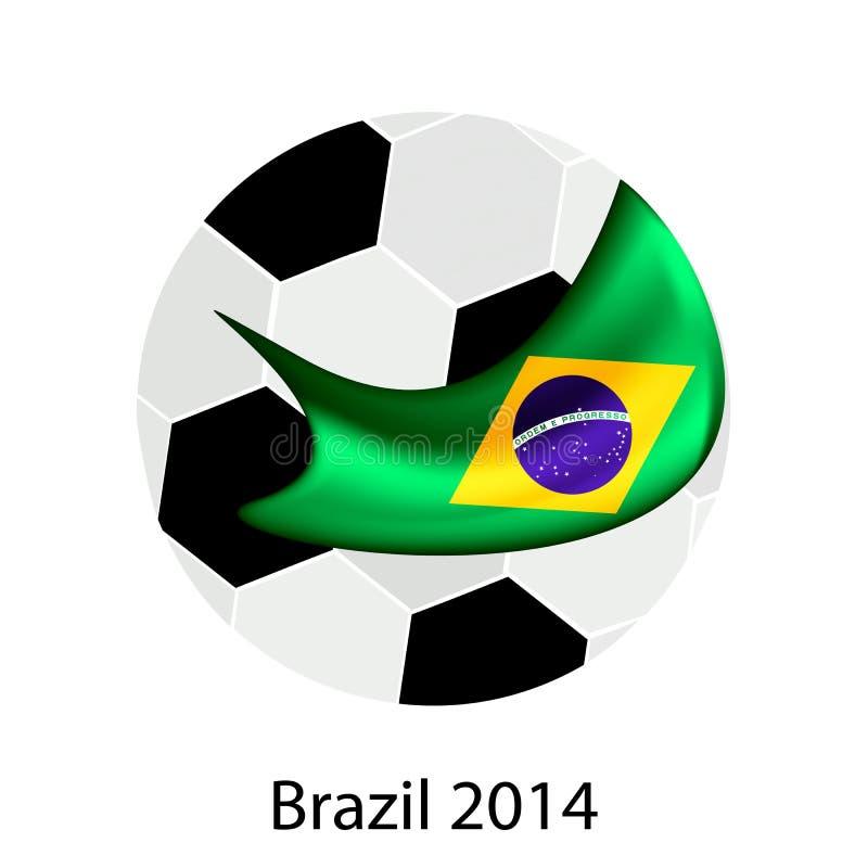Pallone da calcio e una bandiera brasiliana di 2014 coppe del Mondo royalty illustrazione gratis