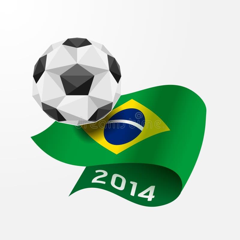 Pallone da calcio geometrico sulla bandiera dell'illustrazione del Brasile 2014.Vector illustrazione di stock