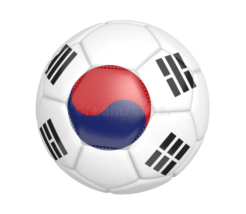 Pallone da calcio isolato, o calcio, con la bandiera di paese della Corea del Sud illustrazione vettoriale