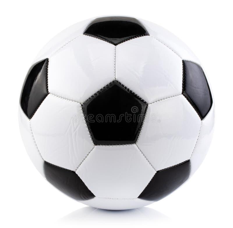 Pallone da calcio isolato su fondo bianco con il percorso di ritaglio fotografie stock libere da diritti