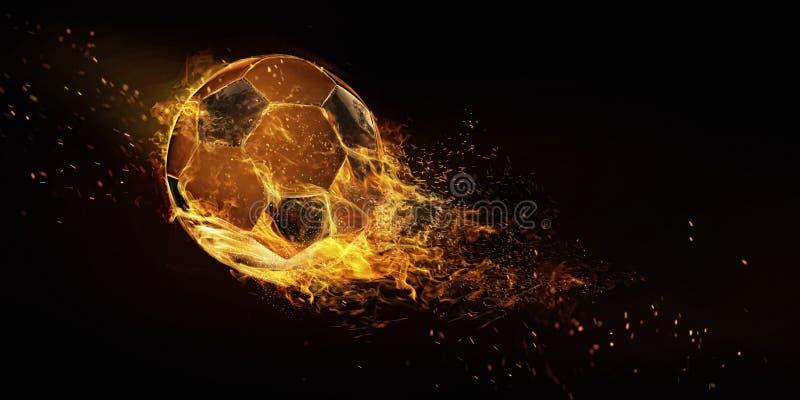 Pallone da calcio isolato su fondo nero immagine stock