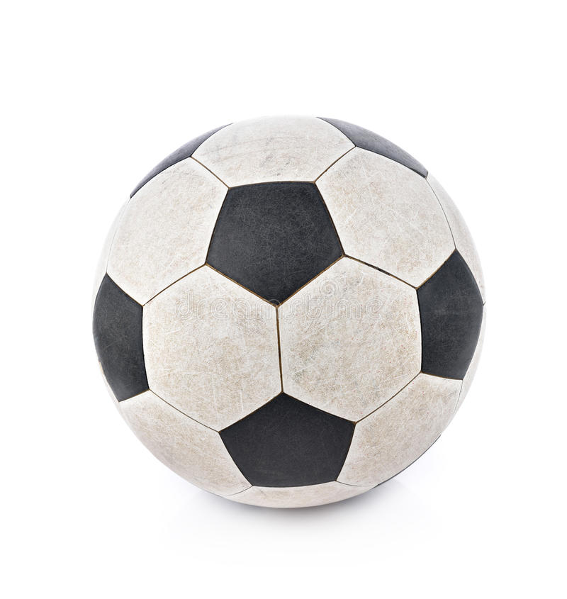 Pallone da calcio misero su fondo bianco immagini stock