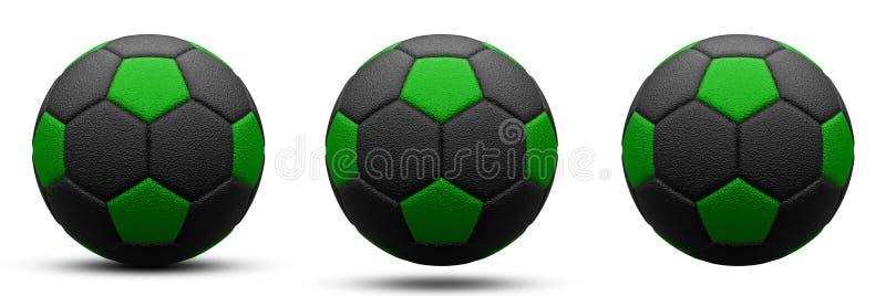 Pallone da calcio nero e verde in tre versioni, con e senza ombra Isolato su bianco 3d rendono immagine stock libera da diritti
