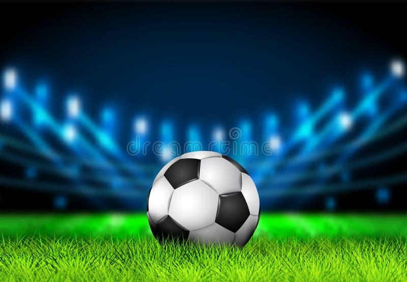 Pallone da calcio realistico 3D sul campo di football americano dell'erba con le luci luminose dello stadio Arena di calcio Illus royalty illustrazione gratis