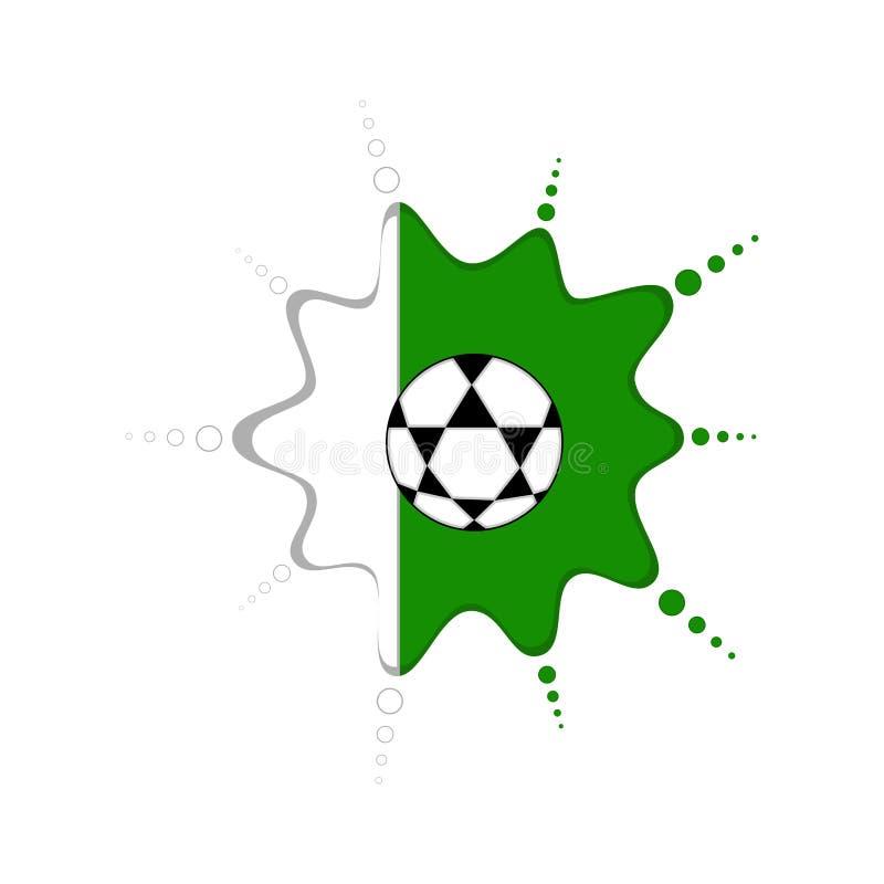 Pallone da calcio su un emblema nigeriano illustrazione di stock