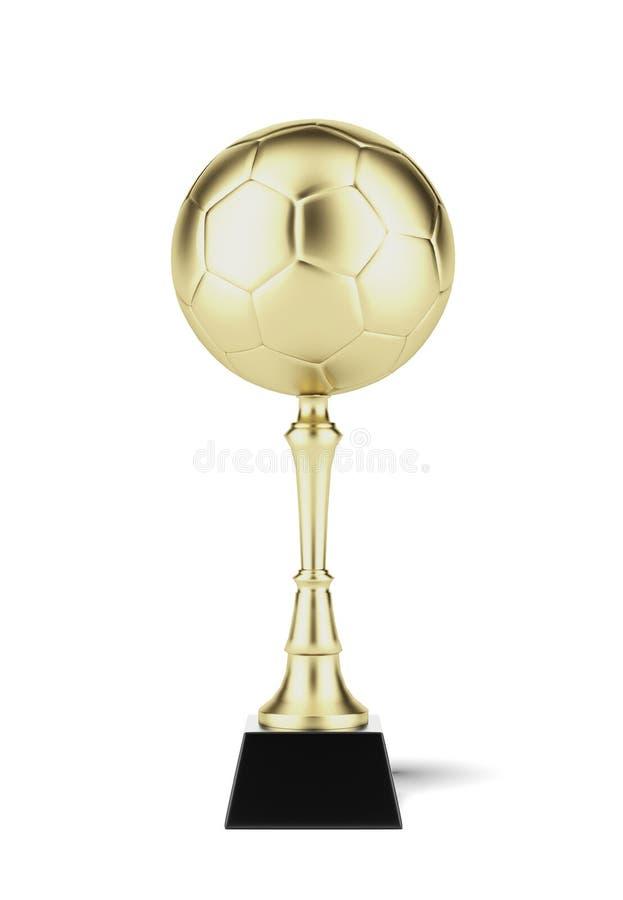 Pallone da calcio sulla tazza dorata illustrazione vettoriale