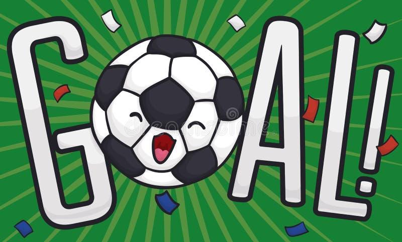 Pallone da calcio sveglio che celebra annotazione di scopo con i coriandoli, illustrazione di vettore illustrazione vettoriale