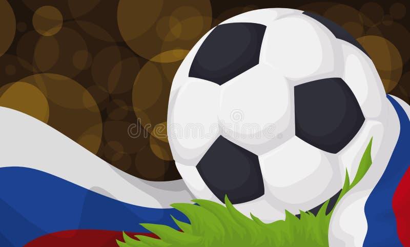 Pallone da calcio in un campo di football americano durante la partita di calcio di notte, illustrazione di vettore illustrazione di stock