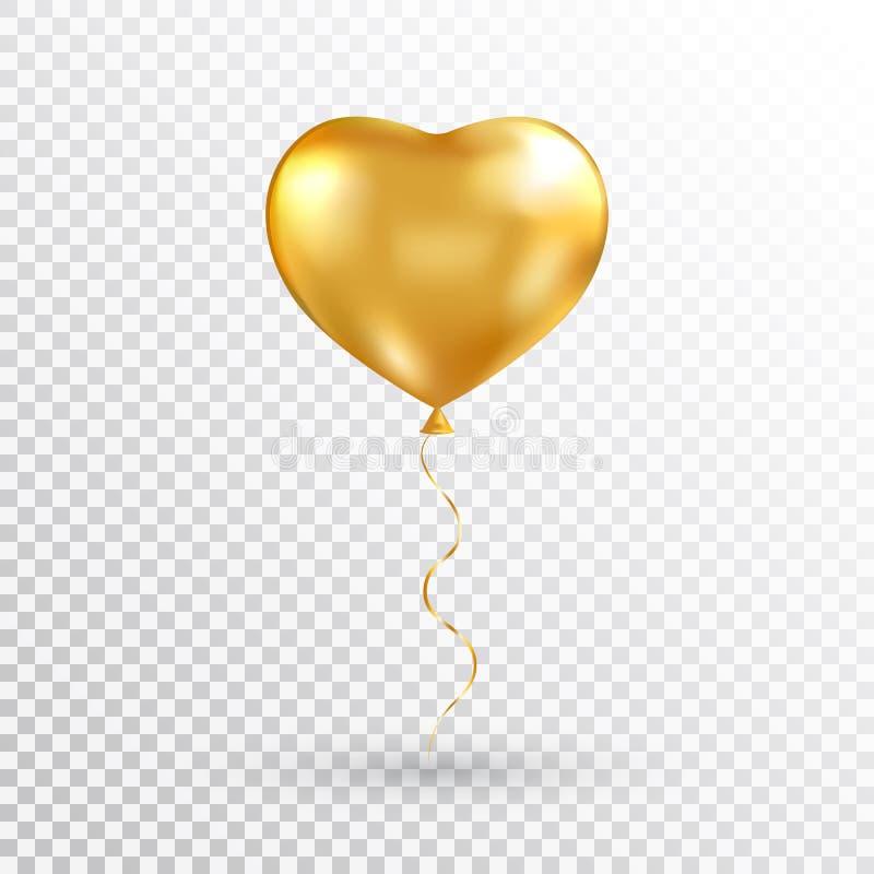 Pallone del cuore dell'oro su fondo trasparente Sventi l'aerostato per il partito, il Natale, il compleanno, il giorno di bigliet illustrazione di stock