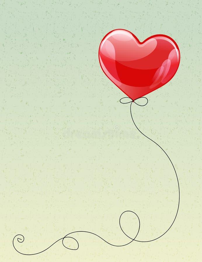 Pallone dell'elio di forma del cuore di volo con il nastro riccio illustrazione vettoriale