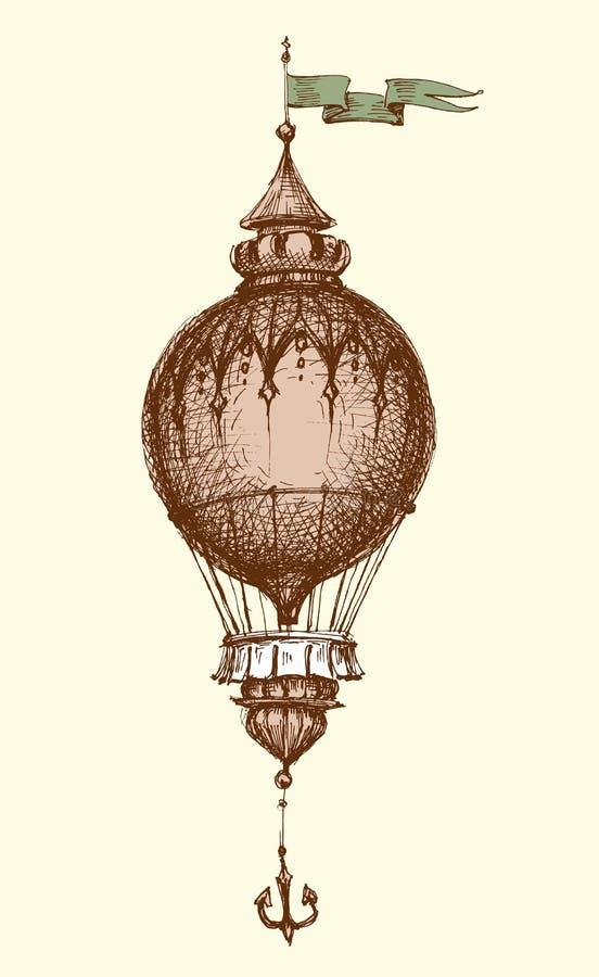Pallone di aria calda dell'annata royalty illustrazione gratis