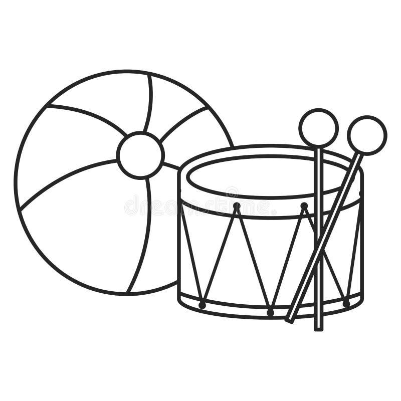 Pallone di plastica con i giocattoli del tamburo royalty illustrazione gratis