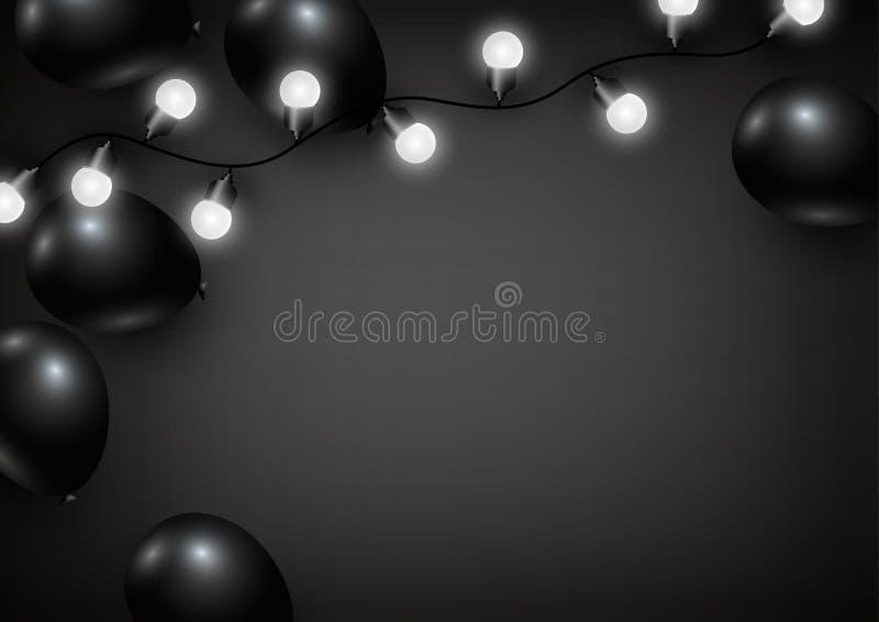Pallone e lampadina su fondo nero illustrazione di stock