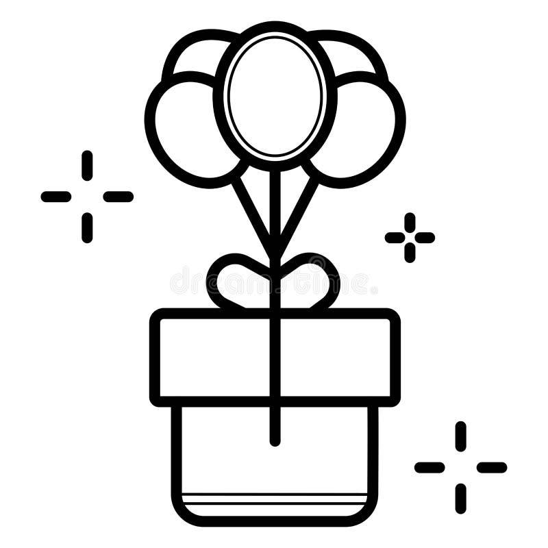 Pallone lucido volante con il contenitore di regalo illustrazione vettoriale