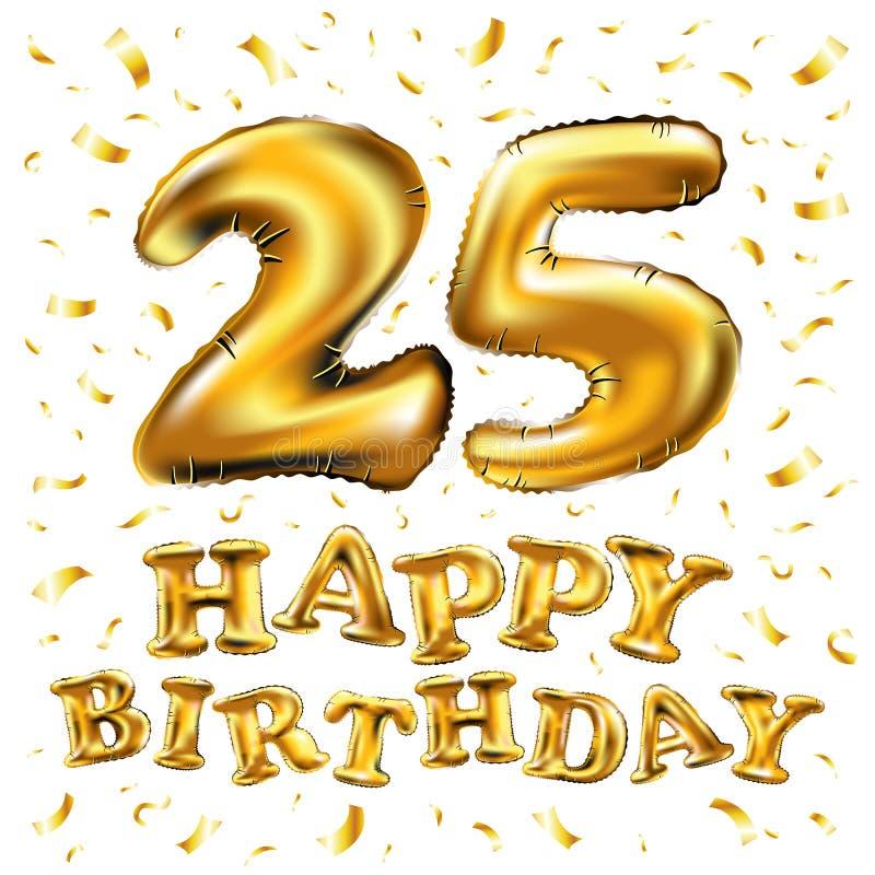 Pallone metallico di numero 25 venticinque dorati Palloni dorati della decorazione del partito Segno di anniversario per la festa illustrazione di stock