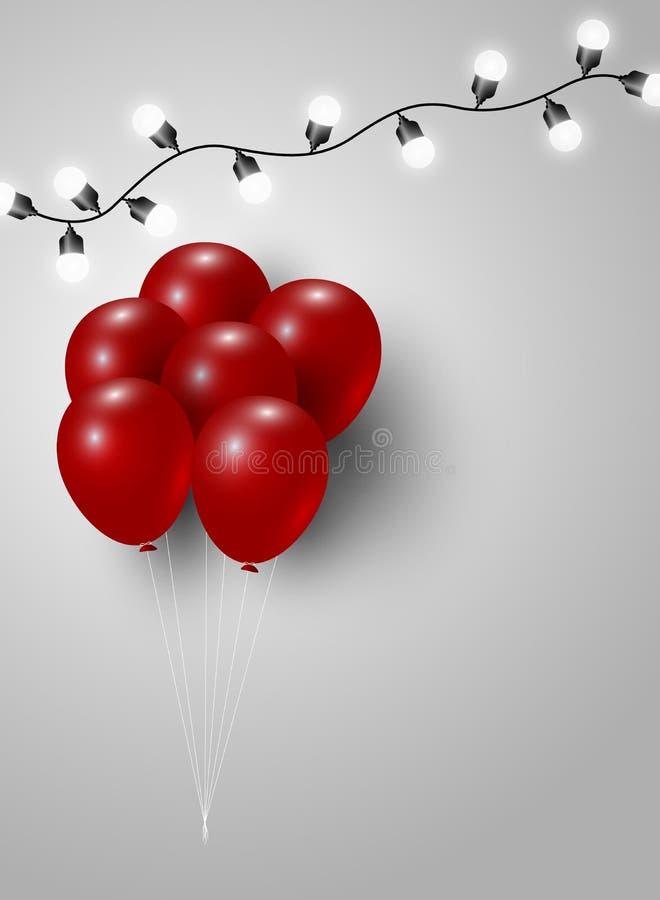 Pallone rosso e lampadina illustrazione di stock