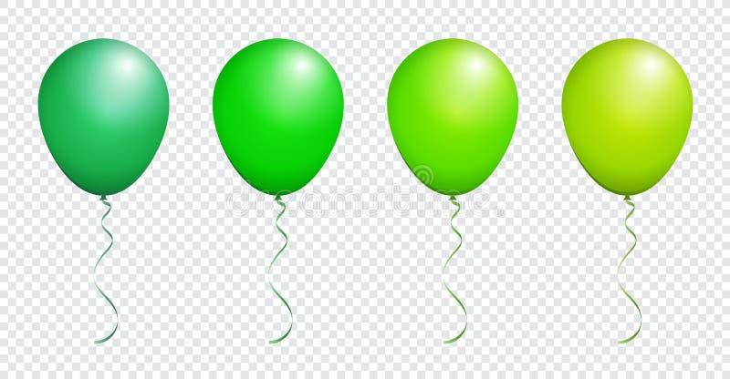 Pallone verde lucido di colore isolato su bianco nell'insieme di vettore royalty illustrazione gratis
