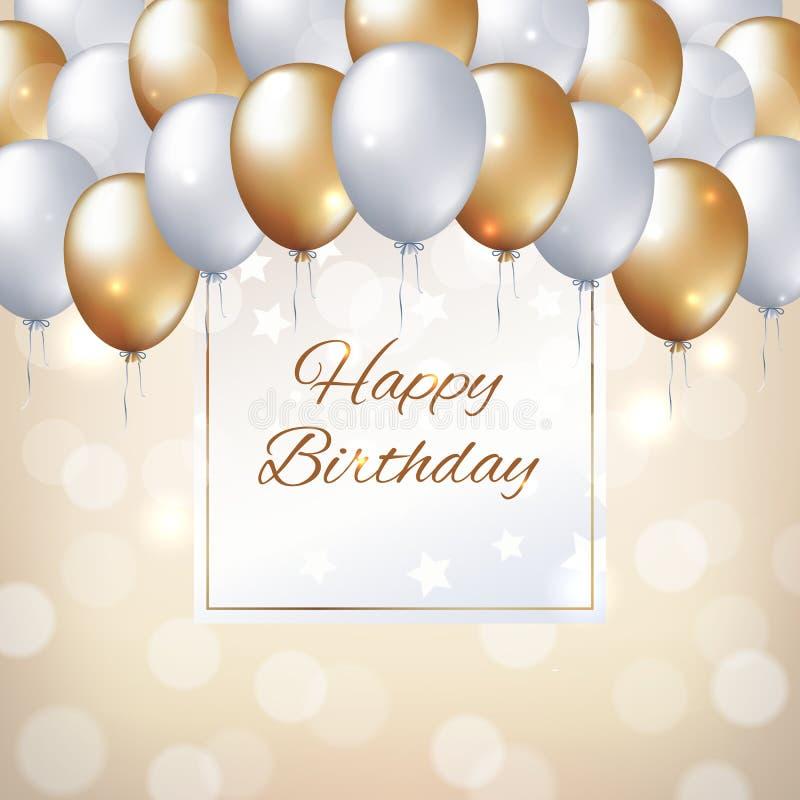 Palloni bianchi dorati del biglietto di auguri per il compleanno felice Struttura del fondo del partito di festa per testo Pallon royalty illustrazione gratis