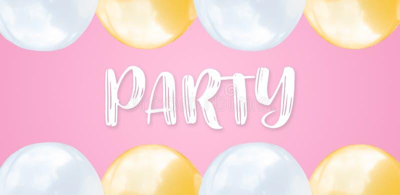 Palloni bianchi piani astratti di rosa di disposizione e su ampio fondo rosa pastello con il concetto del testo per il partito di fotografia stock libera da diritti