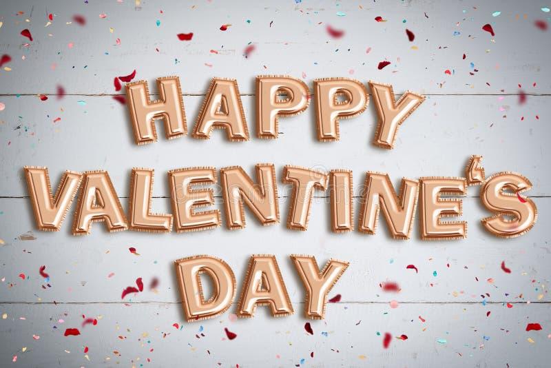 Palloni che formano il ` felice di giorno del ` s del biglietto di S. Valentino del ` di parole fotografia stock libera da diritti