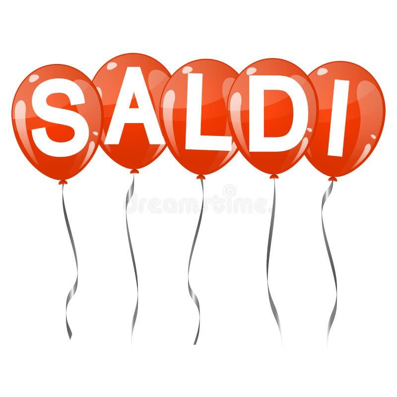palloni colorati con testo SALDI illustrazione di stock