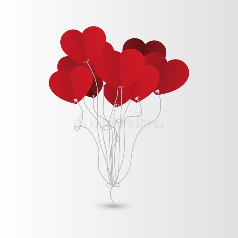 Palloni del cuore di giorno di biglietti di S. Valentino Fondo Vettore royalty illustrazione gratis