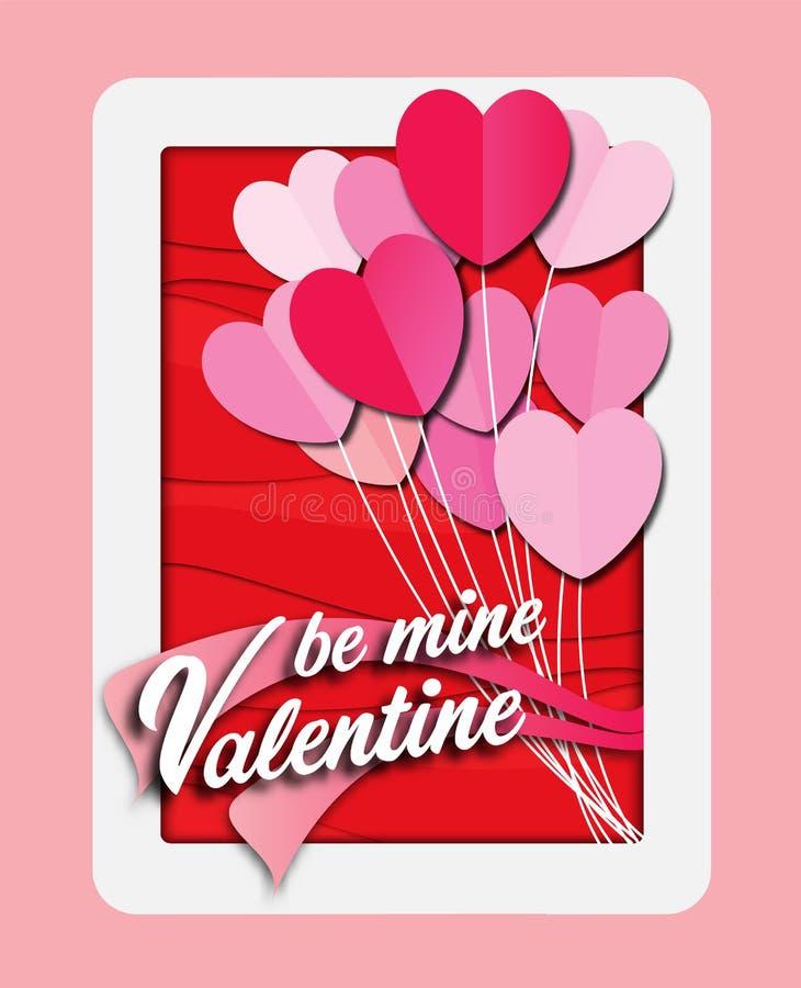 Palloni di amore La carta della carta del giorno del ` s del biglietto di S. Valentino ha tagliato con il fondo del cuore Materia illustrazione di stock
