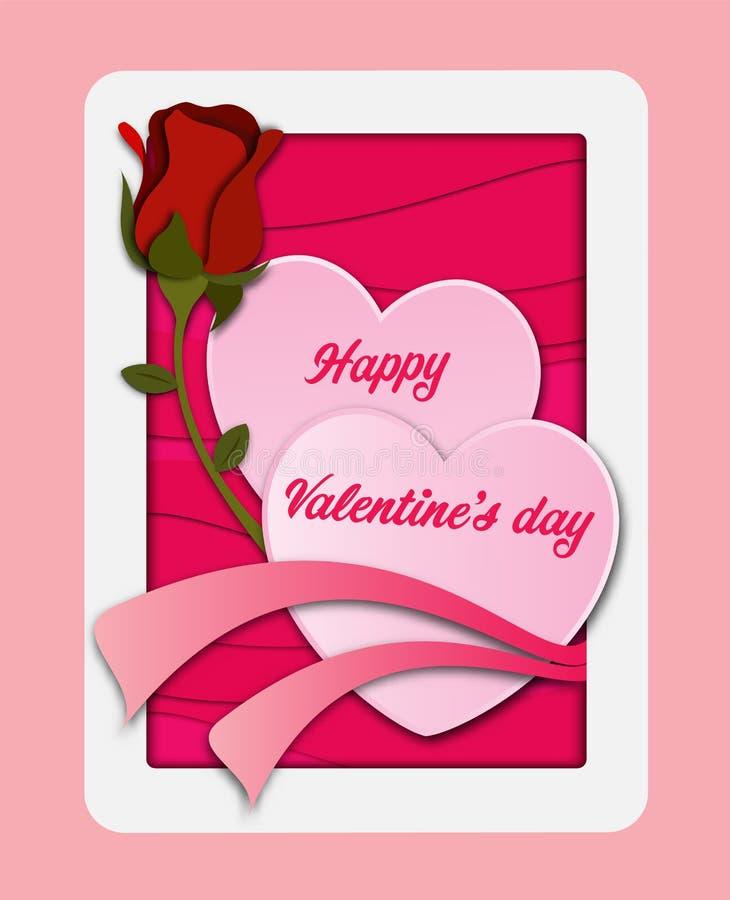 Palloni di amore La carta della carta del giorno del ` s del biglietto di S. Valentino ha tagliato con il fondo del cuore Materia illustrazione vettoriale