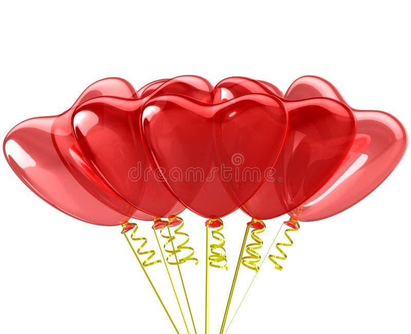 Palloni di rosso del cuore. Decorazione romantica di nozze. illustrazione vettoriale