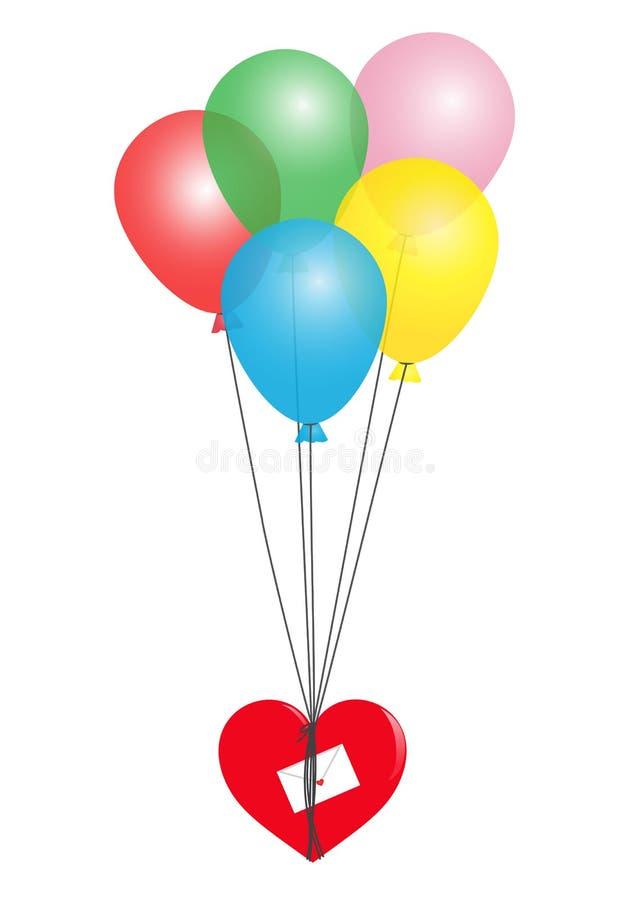 Palloni e cuore illustrazione di stock