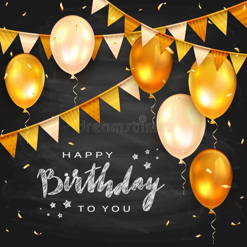 Palloni e stendardi dorati di compleanno sul fondo della lavagna royalty illustrazione gratis