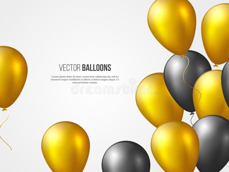 Palloni lucidi di volo 3D nei colori dorati e neri Gli elementi decorativi per l'invito del partito progettano, festa royalty illustrazione gratis