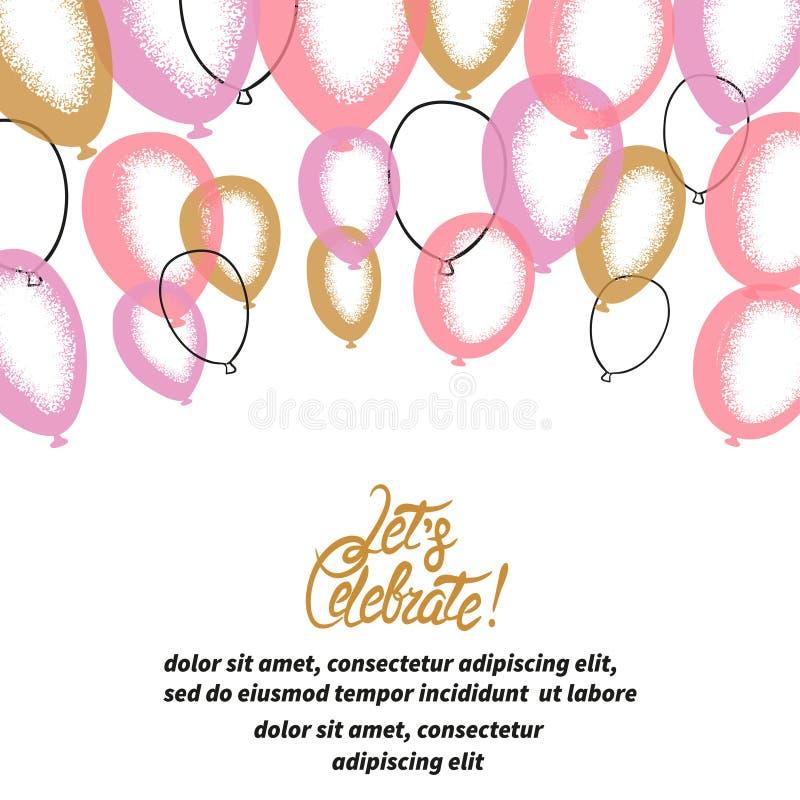 Palloni rosa e dorati Fondo di celebrazione di vettore royalty illustrazione gratis
