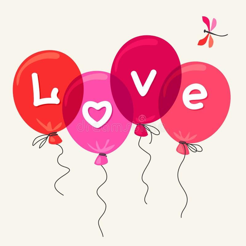Palloni rossi con amore del testo royalty illustrazione gratis