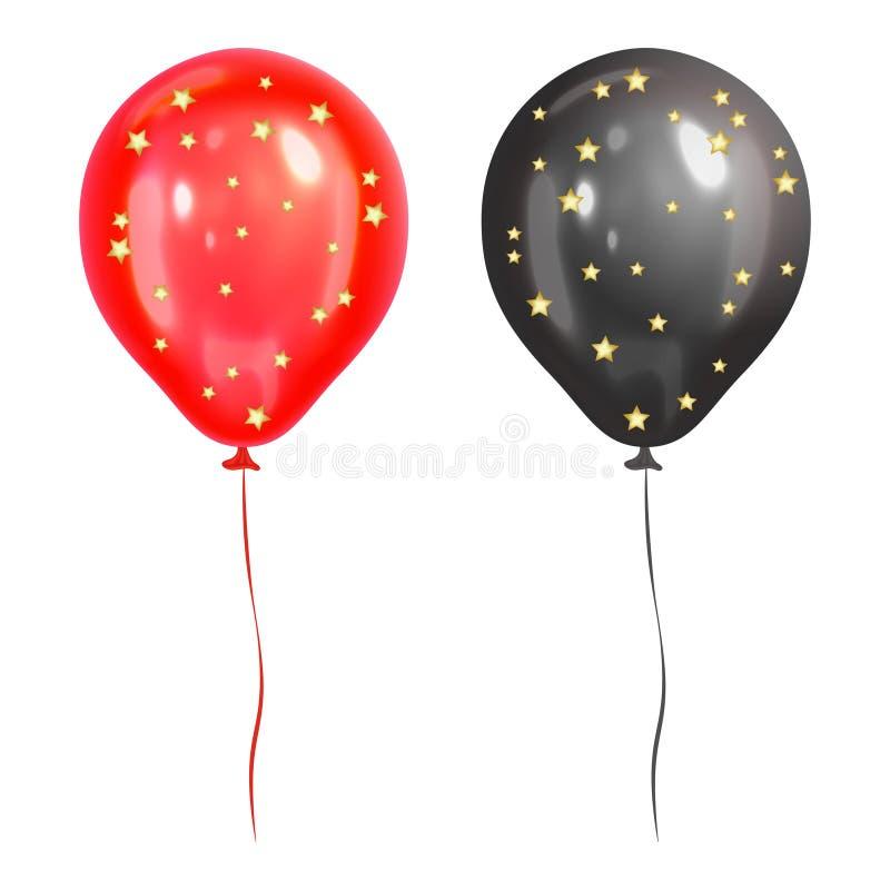 Palloni rossi e neri realistici con le stelle d'oro royalty illustrazione gratis