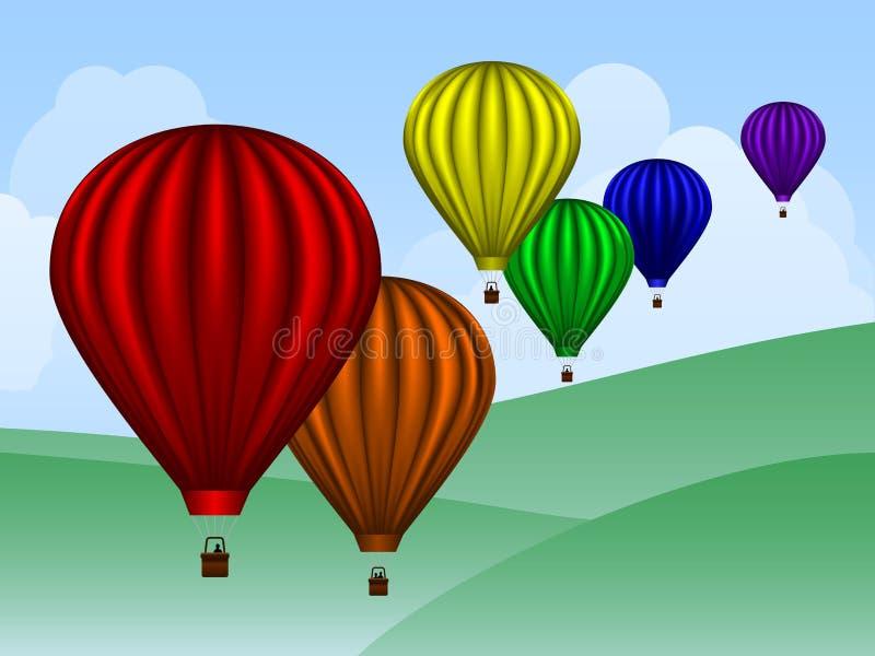 Palloni sopra le colline fotografia stock libera da diritti