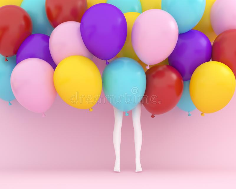 Palloni variopinti che galleggiano con la donna delle gambe bianche sul rosa pastello fotografia stock