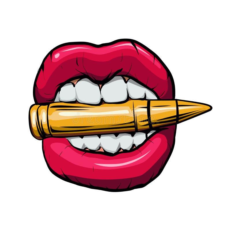 pallottola in bocca Illustrazione di vettore royalty illustrazione gratis