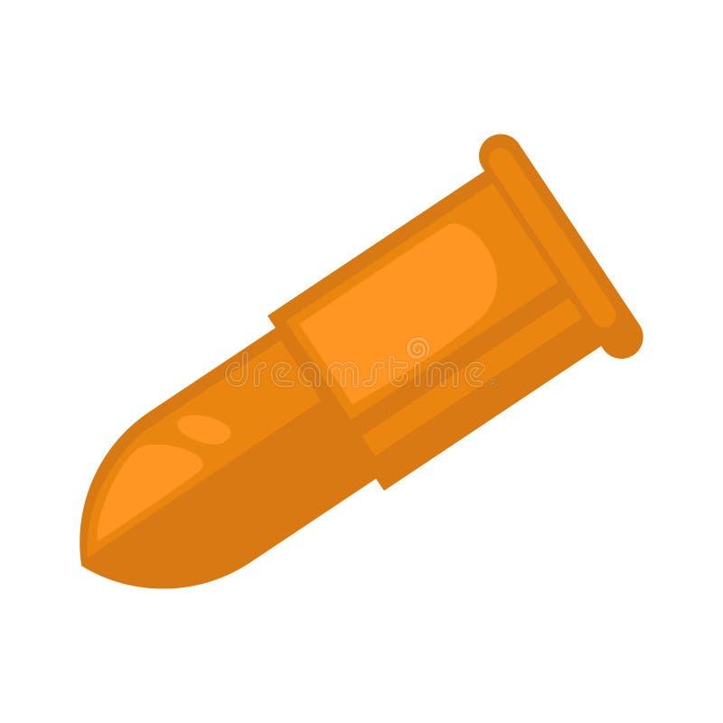 Pallottola della pistola nel colore dorato isolata su bianco royalty illustrazione gratis