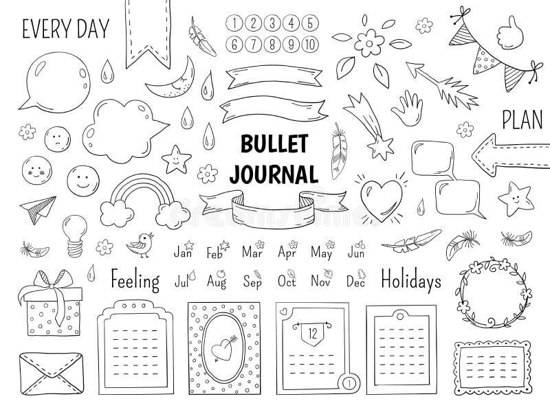Pallottola di scarabocchio del taccuino Struttura disegnata a mano del diario, confini della lista lineare del giornale ed elemen illustrazione vettoriale